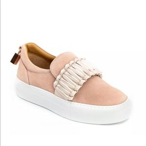 Buscemi Womens 40mm Braid Suede Pink $650 msrp